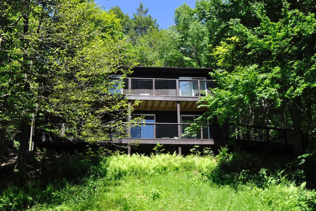 The Bearsville Hillside House is nestled into a hillside. It's like being in a treehouse!