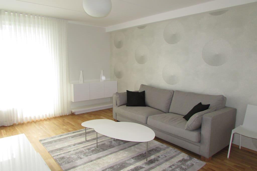 Elegant livingroom with sofabed.