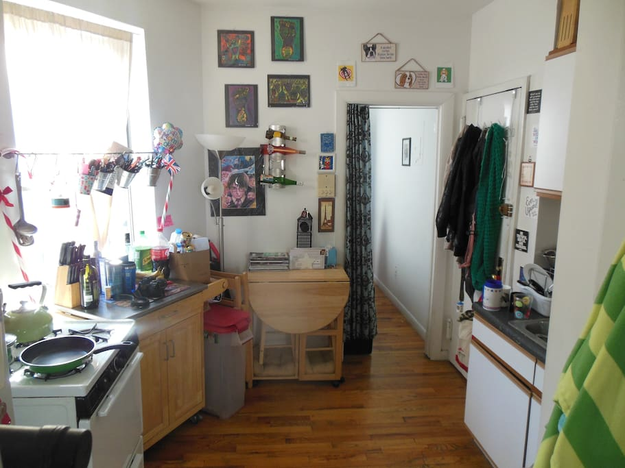 View of the kitchen from the living room.