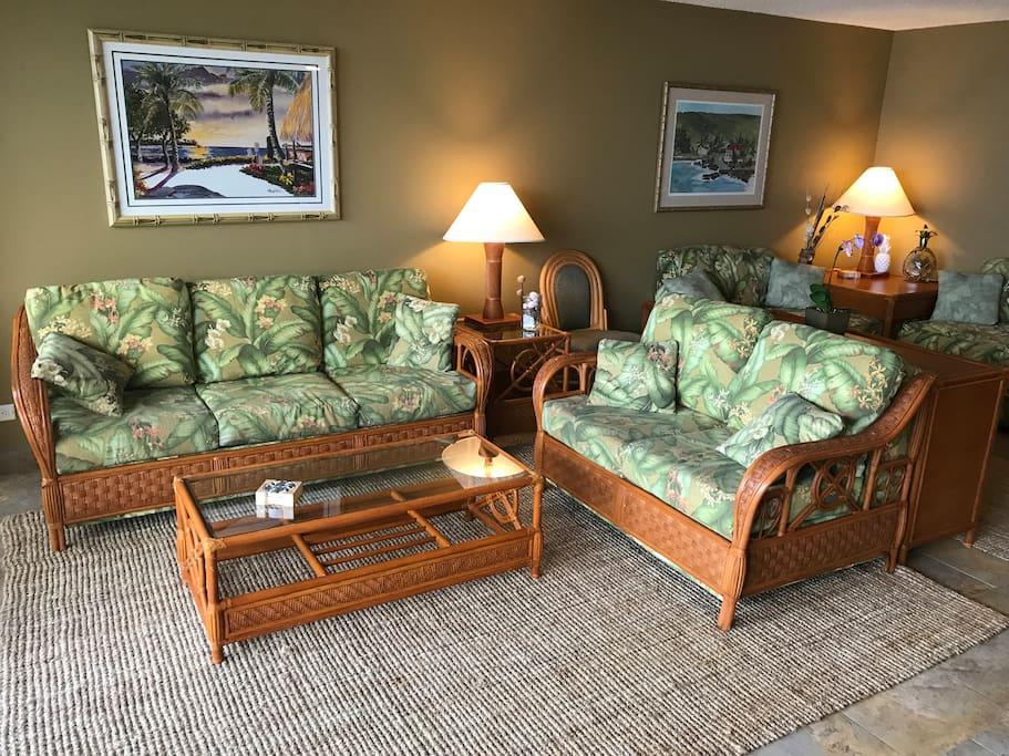 Living room has queen sofa/bed