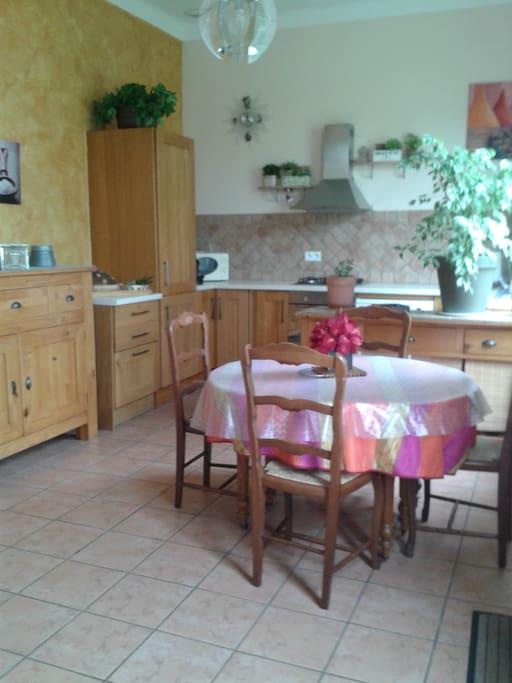 cuisine ouverte avec plaque de cuisson au gaz, four, lave vaisselle