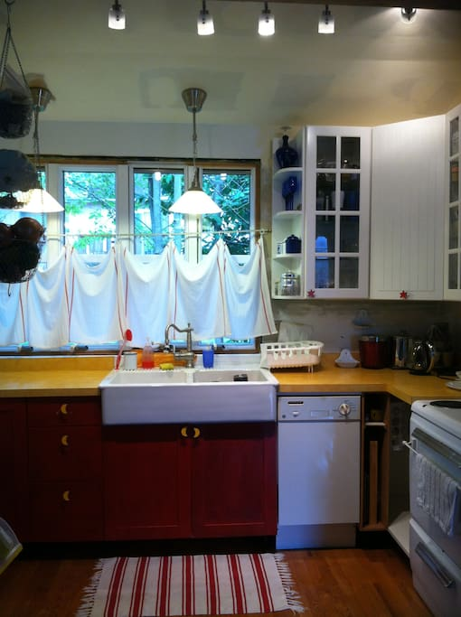 Recently remodeled kitchen - it's small (by U.S. standards), but has everything most people need.  (If you don't see what you need, just ask.)