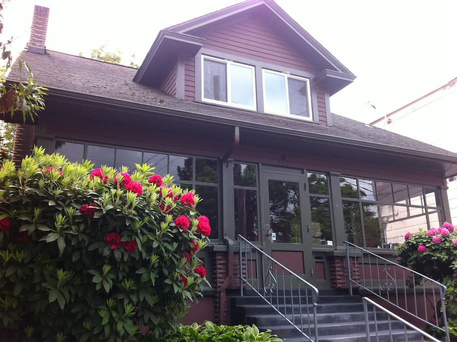 Front of house, indoor porch, driveway to park