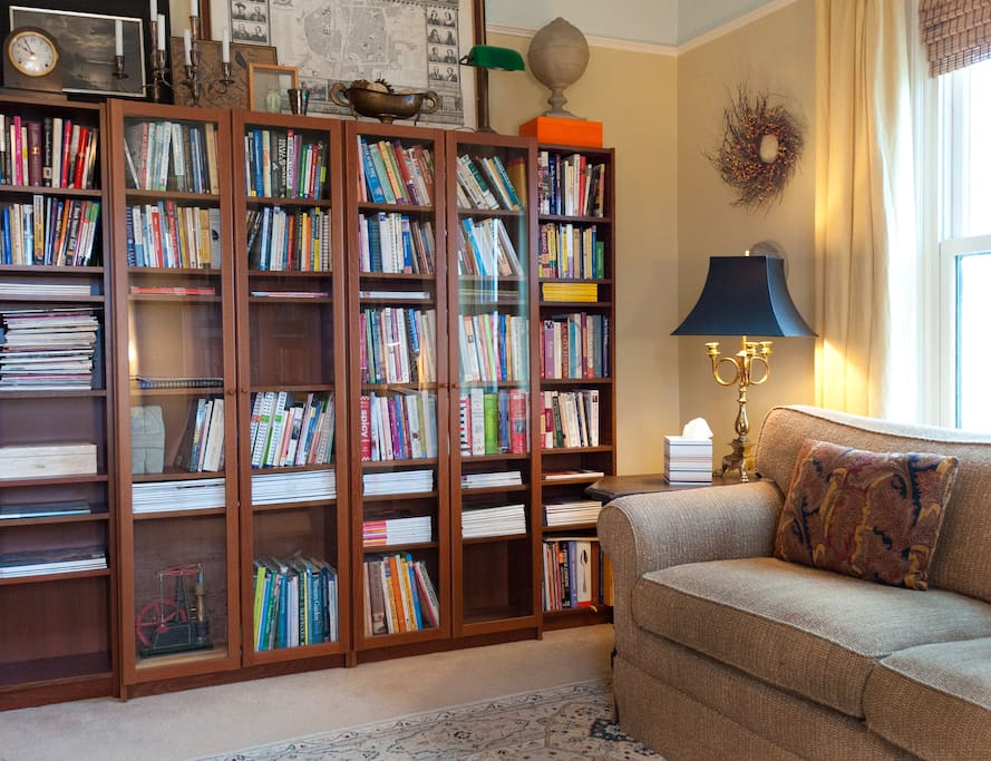 living room + library and a comfy couch to curl up on