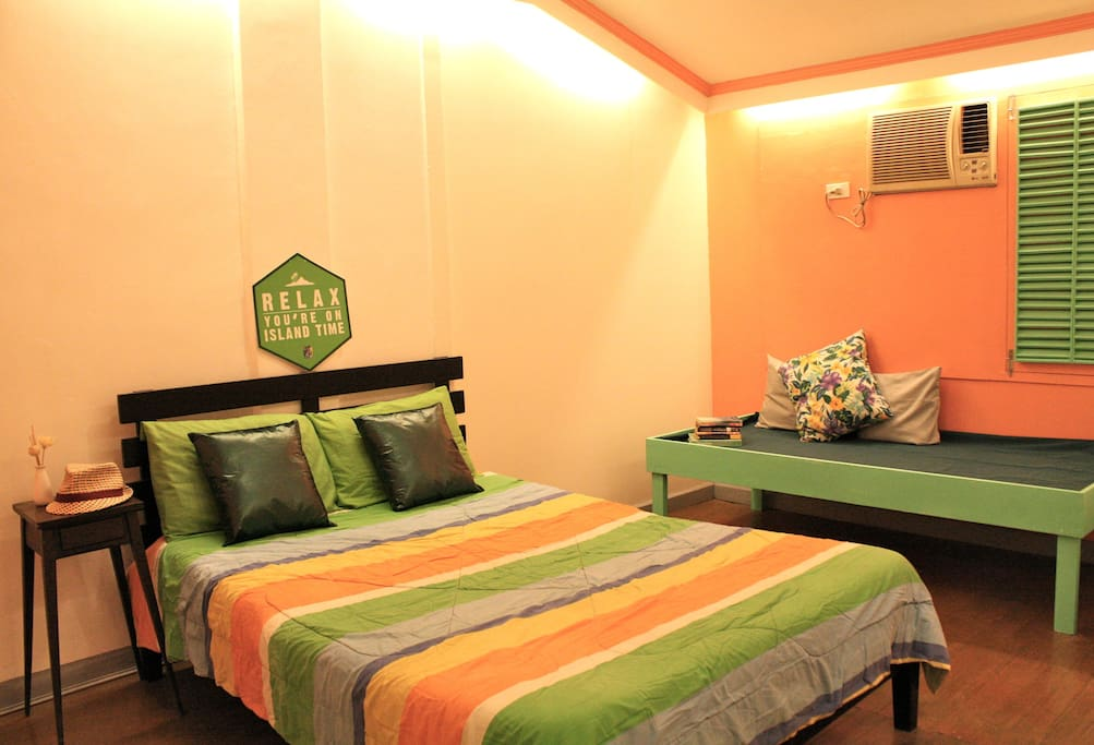 CORAL ROOM: 1 double bed, 1 day bed, 1 extra sofa bed; aircon room with own toilet