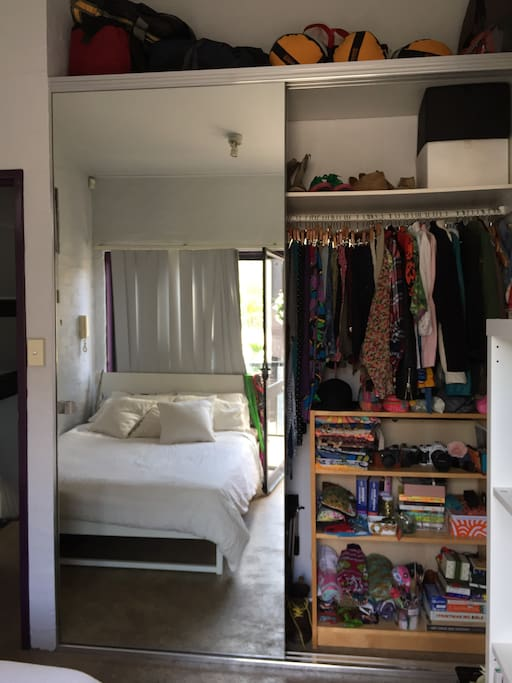 Overall bedroom space, lots of light, great new queen mattress and big mirrored wardrobes to fit your belongings.