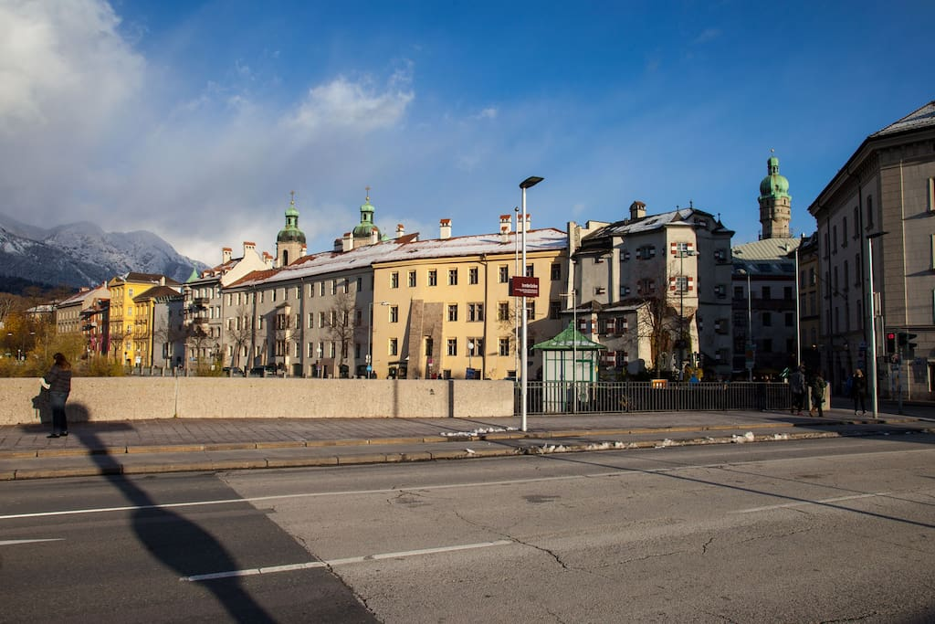 just across the bridge: entry of beautiful Innsbruck Old Town