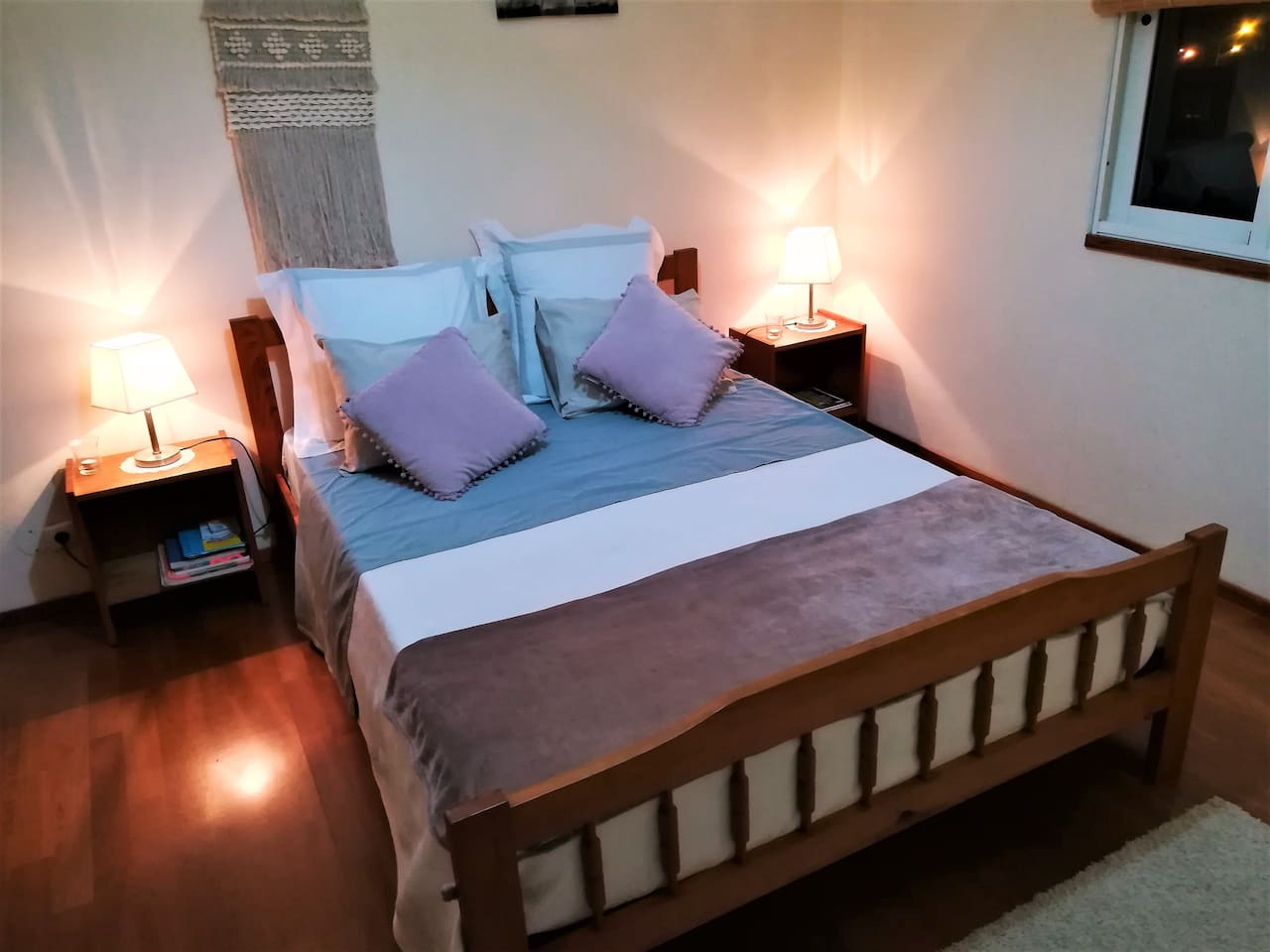 bedroom with double bed and private bathroom.