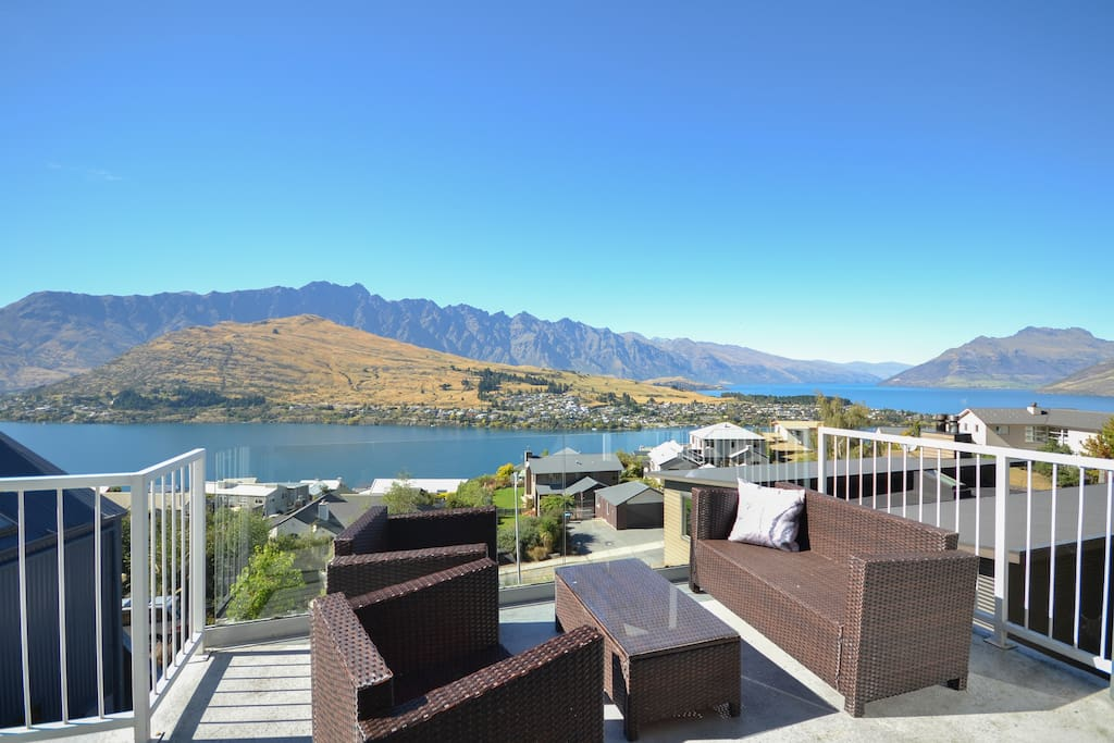 Three private balconies to enjoy Queenstown's famous view of The Remarkables Mountains and Lake Wakatipu