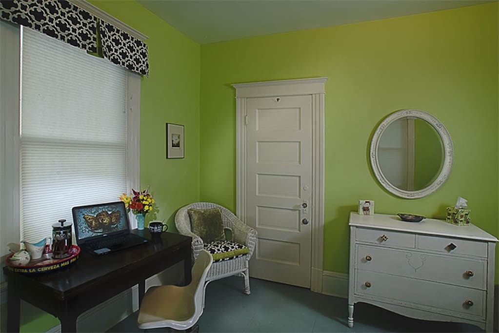 Roomy desk to write, commute and have a tea tray. If you are staying for awhile all your finery will easily fit in the dresser and ample closet.