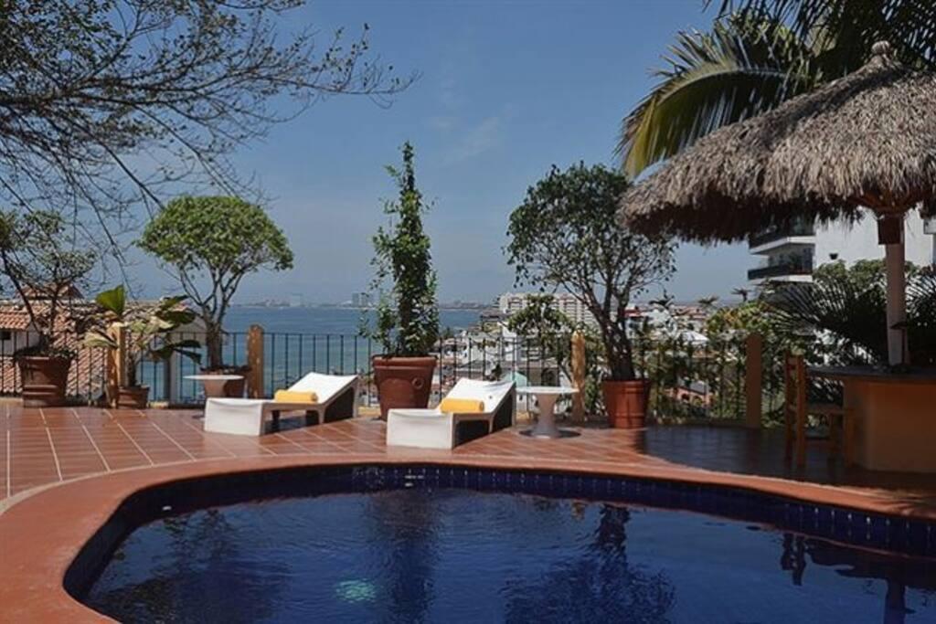 View over Bay of Banderas and Puerto Vallarta Zona Romantica from terrace