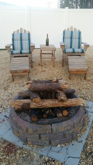 Fire pit in the backyard