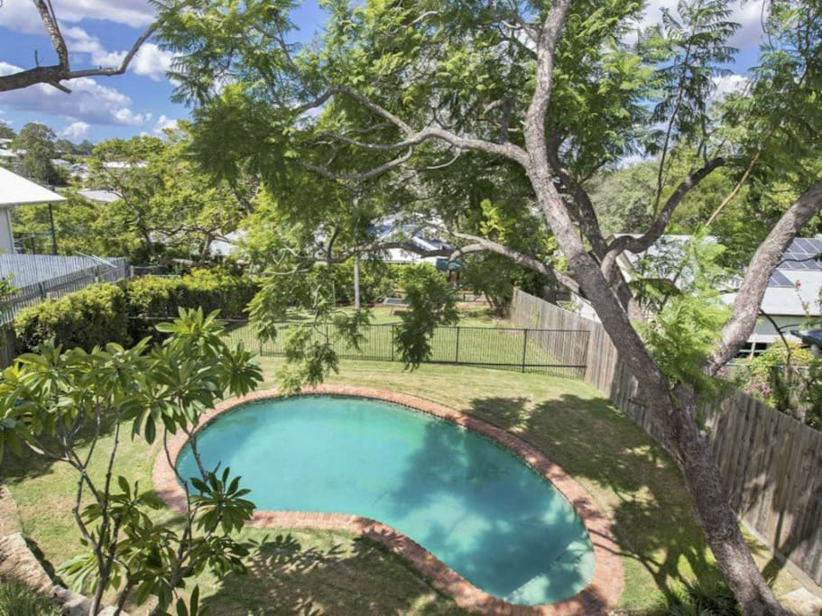 Backyard pool available, view from the house