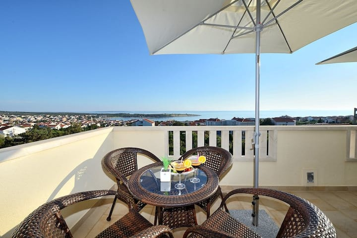 One bedroom Apartment, in Novalja - island Pag, Outdoor pool, Balcony, Terrace