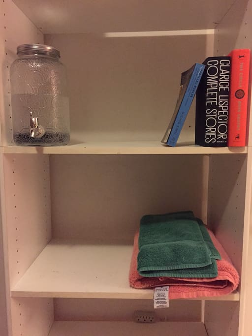 Charcoal filtered water on tap, just for you! And Books! and Towels!