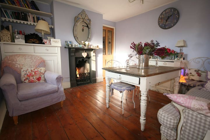 Pretty dining room overlooking south facing sunny walled garden