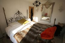 Upstairs double bedroom with wifi and open fireplace and satellite tv