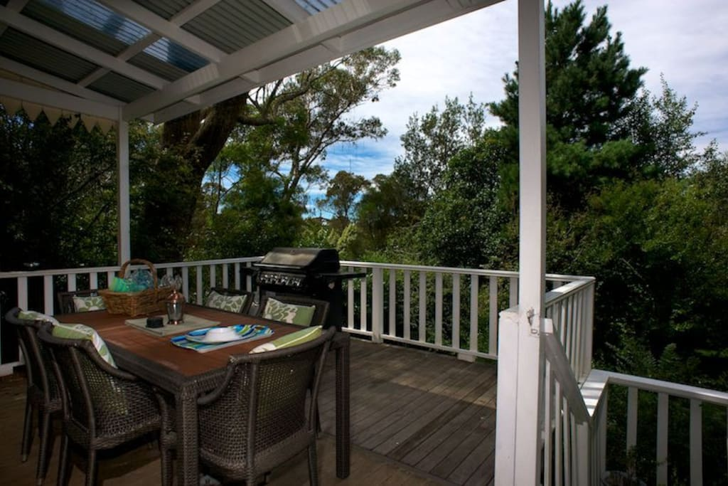 Private deck for summer dining and barbecues