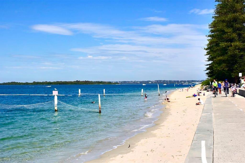 Safe beach swimming area 5 minute walk. Bike lane promenade. Perfect for everyone especially families.