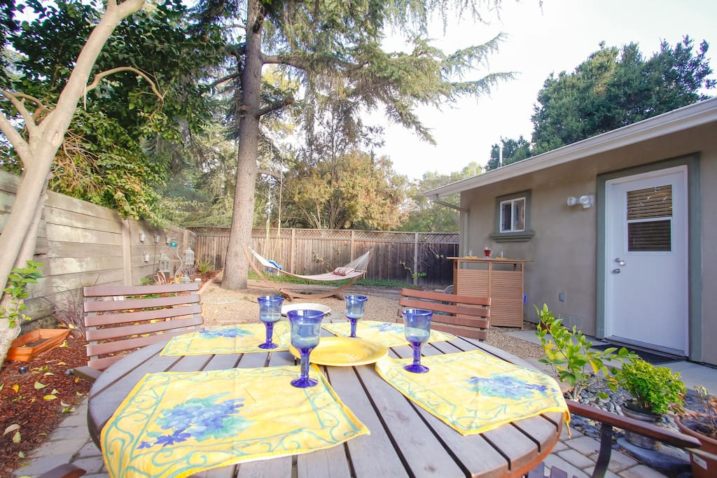 This is your private patio - especially inviting on a warm silicon valley day.