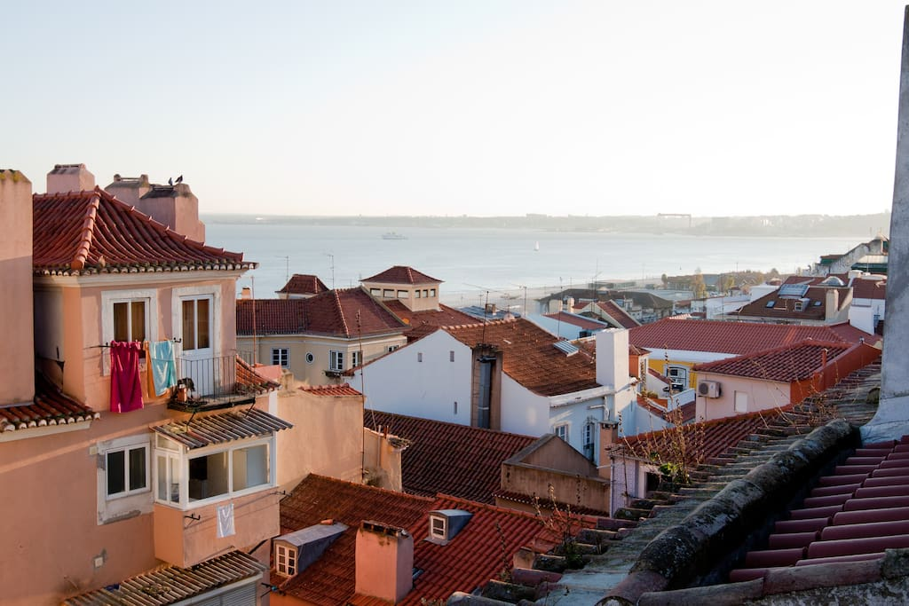 View over the roofs os Alfama and the Tagus River