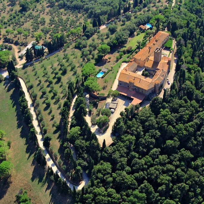 The castle of Marsiliana. Spot the pool in the garden
