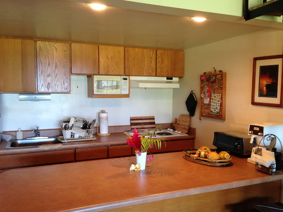 spacious fully stocked kitchen, fridge, barstools or deck seating