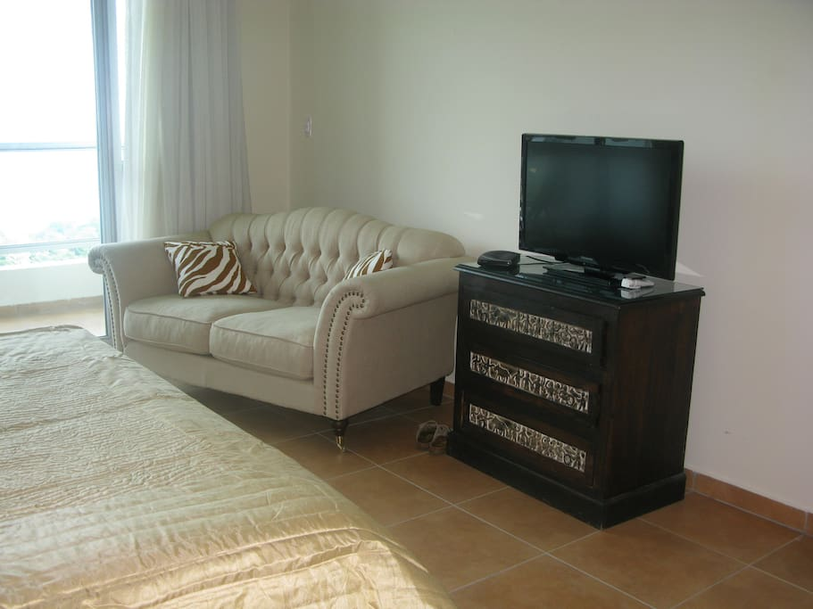 Extra large Master Bedroom with office area, flat screen tv