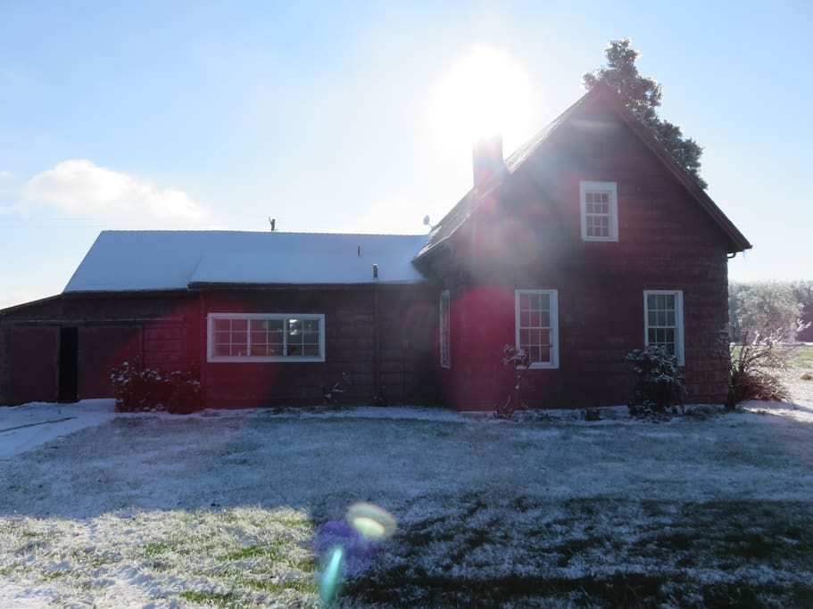 Our 1920's farm house with a fresh coat of snow.