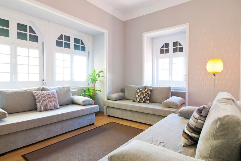 Living Room with 3 sofa beds (sleep 3)