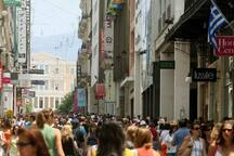 Ermou street, the central pedestrian shopping street of Athens, only a one minute walk away!