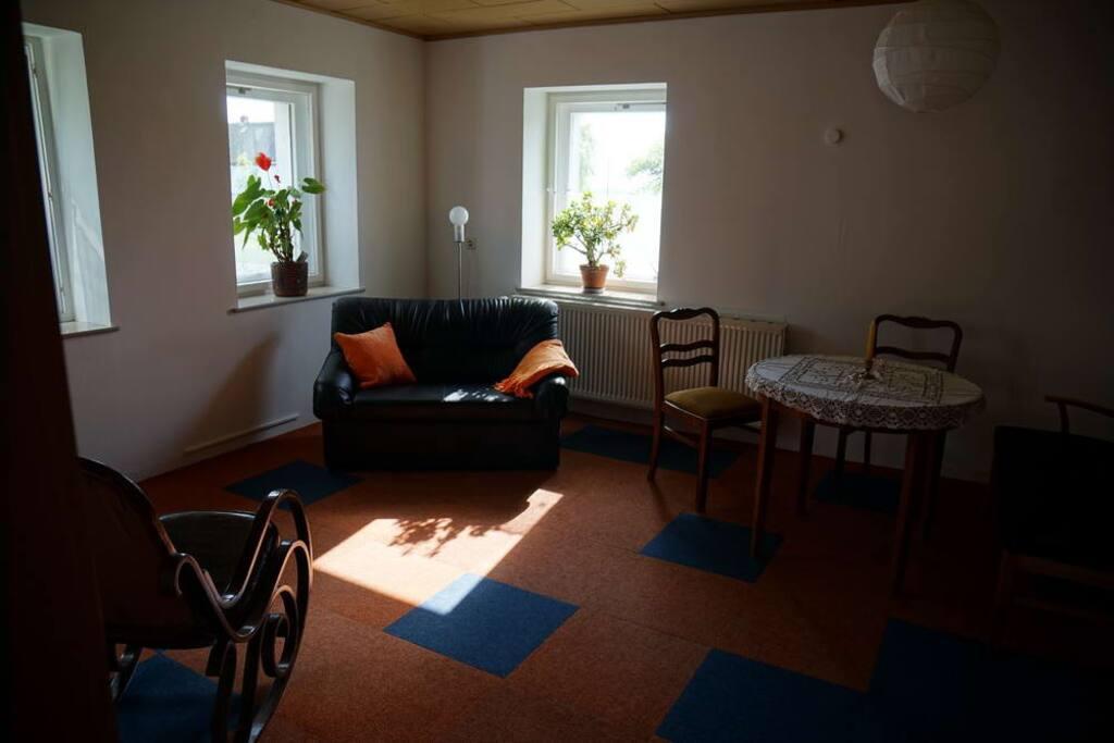 Wohnzimmer gemütlich mit Wollteppich und Kamin.