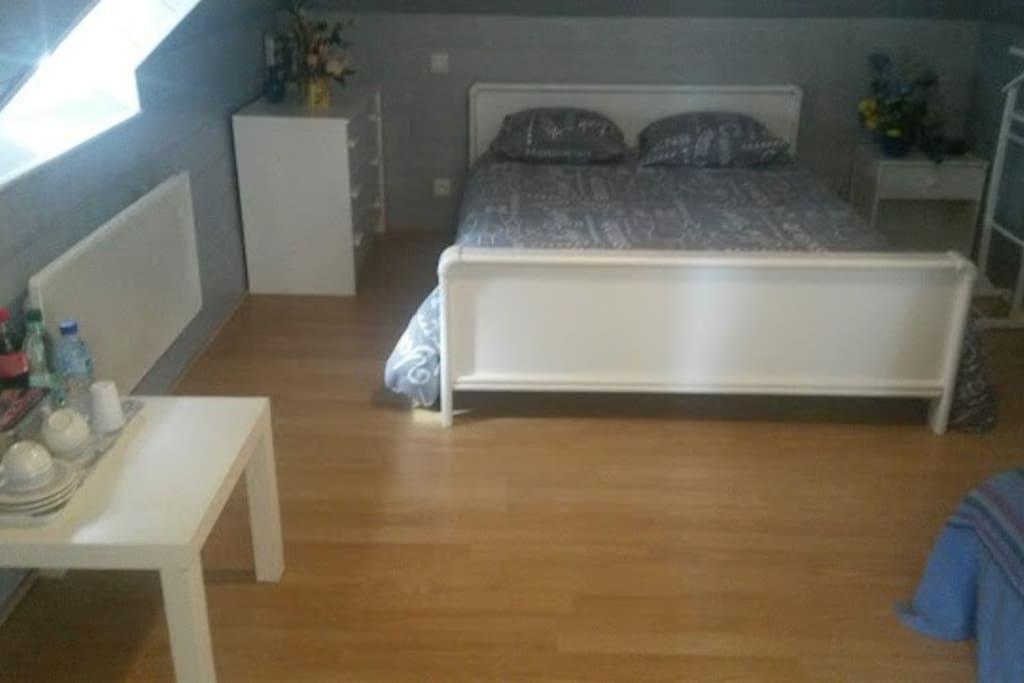Chambre 1 : 1 grand lit et 1 canapé lit