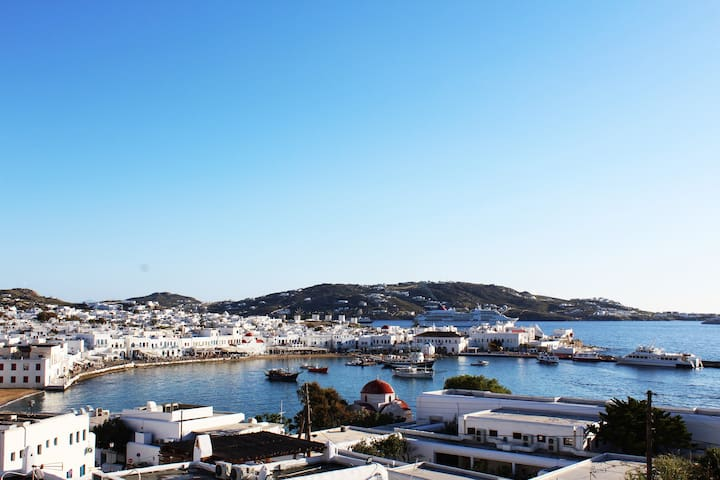 Stelios View Mykonos Town-Room for 4 with sea view