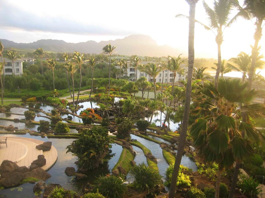 Beautiful terraced ponds on the resort property.