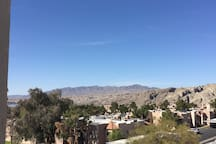 Mtn views of CA, NV and AZ in this 270 degree view , best in Laughlin plus views of the river from the living room day or night with lights!!!