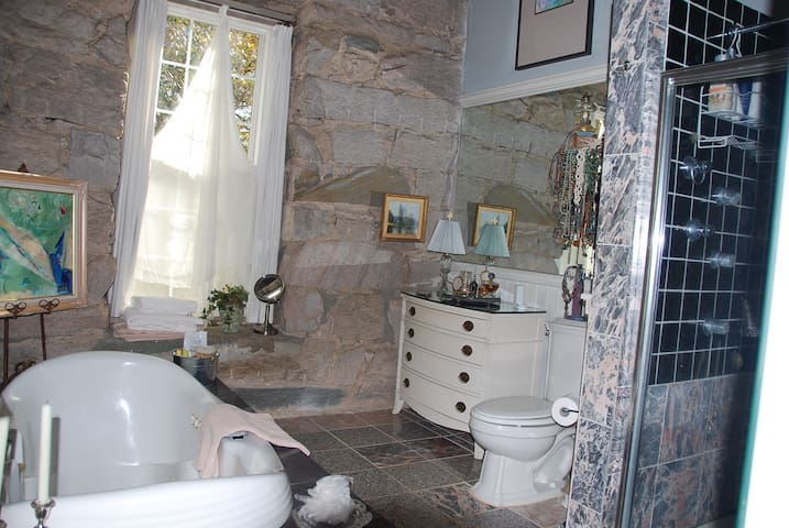 Master bath with jacuzzi and separate shower...