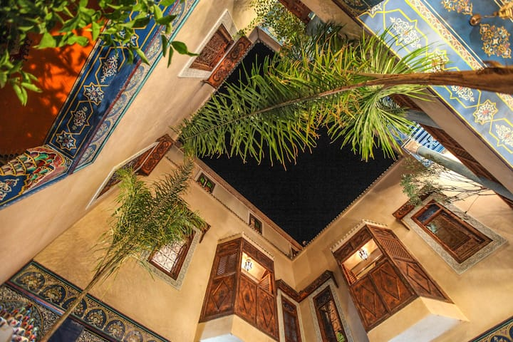 @  Room blue in beautiful Riad in Marrakech Medina
