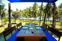 One of the dining areas with a beach view