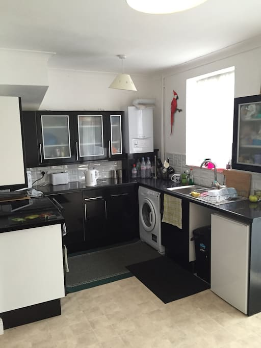 Great shared kitchen with new cooker, microwave, tea and coffee making facilities and washing machine. Own Cupboard for food and shared fridge.