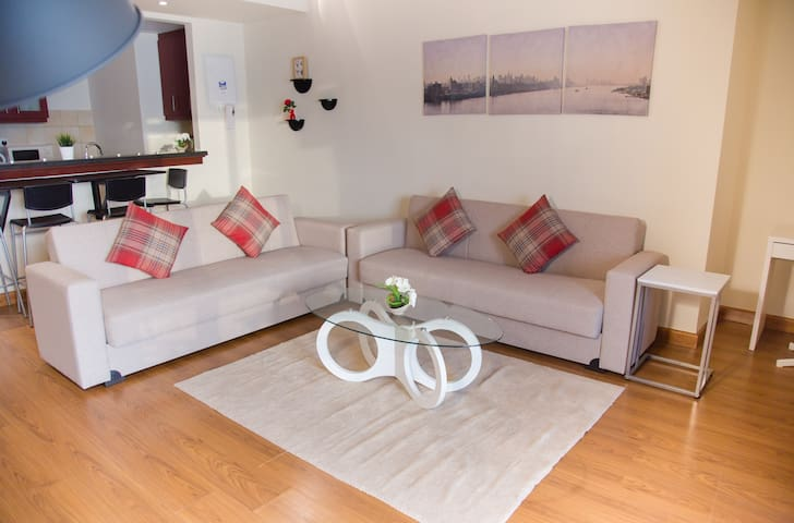 Great living room with two sofa beds