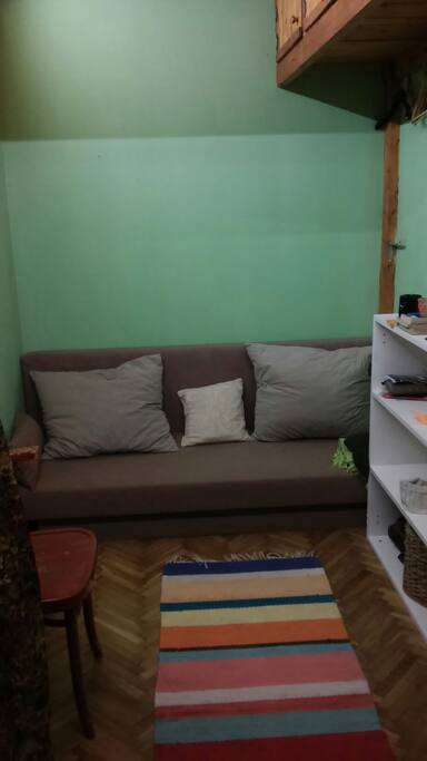 sofa bed under the mezzanine