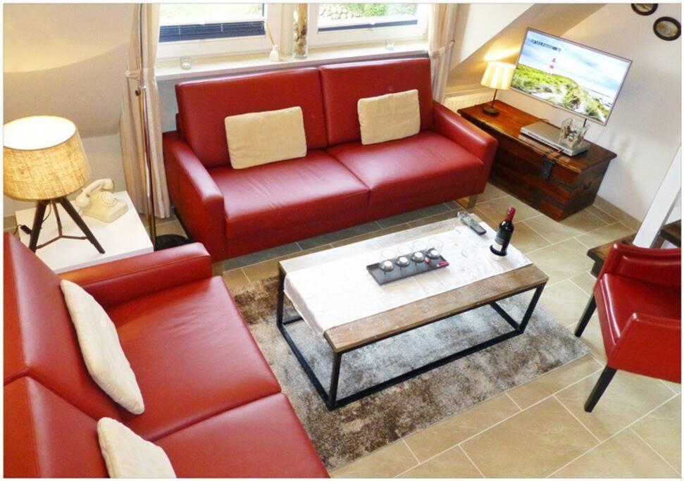 HD-TV/Kabel, WLAN, DVD-Player, MP3-Stereo
