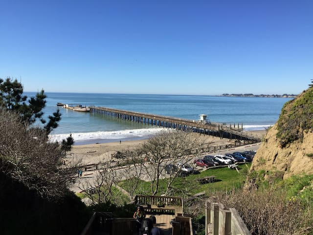 Seacliff State Beach- just down the hill about 1.5m away- great walking beach, riding, whales too!!!  Easy drive or Uber