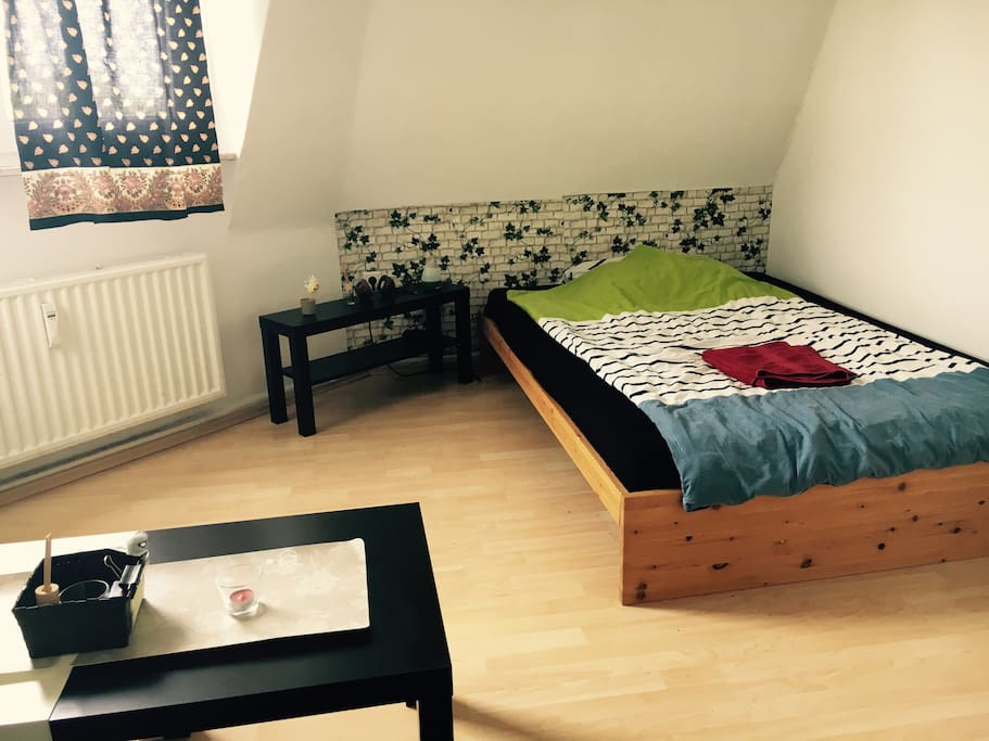 The room where you will stay. With a double bed and a big comfortable sofa.