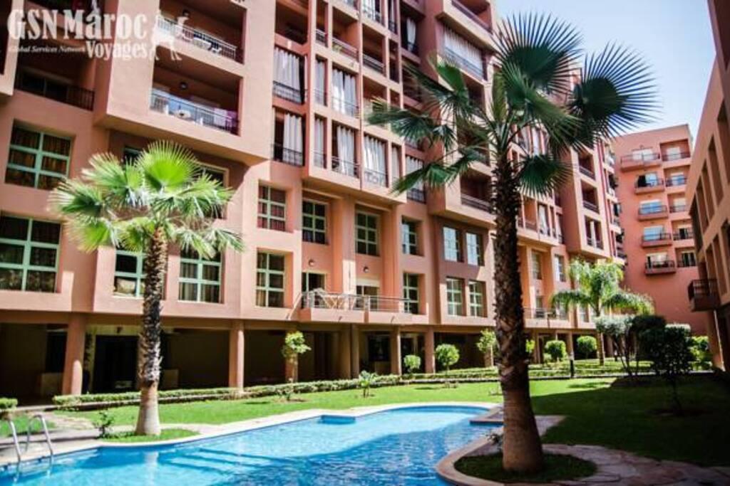 R sidence mirador majorelle marrakech f3 flats for rent - Residence les jardins de majorelle marrakech ...
