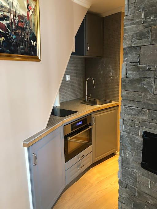 Kitchenette w/ oven/micro, refrigerator, dishwasher, stovetop