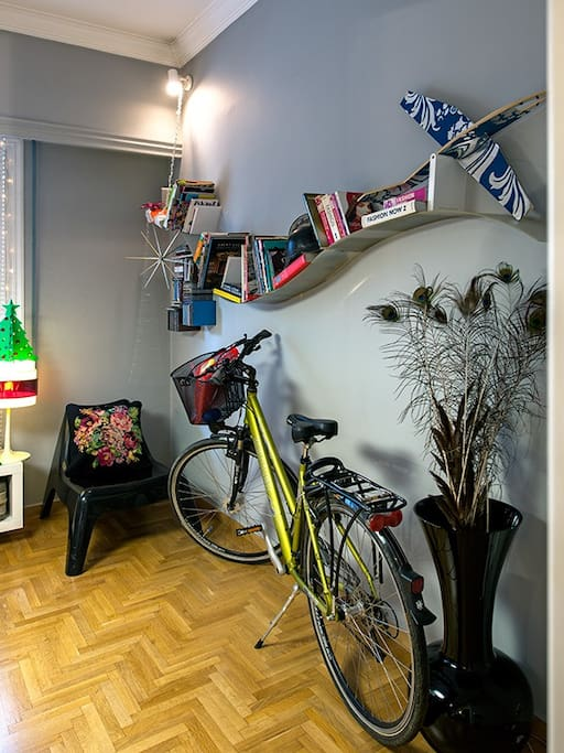 Sitting room / designer book case & bike for use around the city