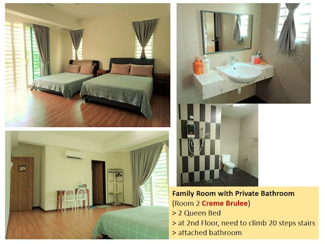 Room 2 (2nd floor, 20 steps stairs) : 2 Queen beds, attached bathroom
