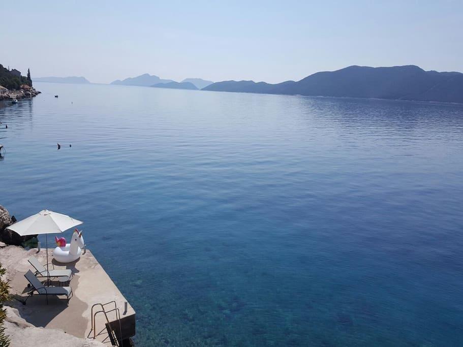 Beach and clear blue sea